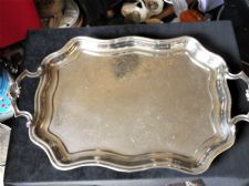 ELEGANT VINTAGE SILVER PLATED TRAY SCALLOP RIM & HANDLES CHASED DESIGN 19.5""